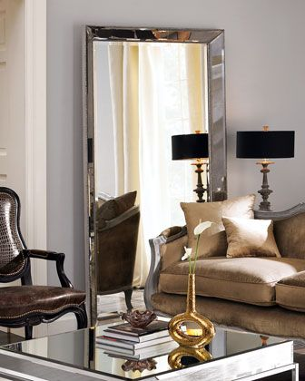 """Floor Mirror at Horchow.  This mirror-framed mirror provides illusions of space and fills the room with light. 44""""W x 4""""D x 79""""T with nailhead trim. Frame is antiqued; mirror is beveled. Imported."""