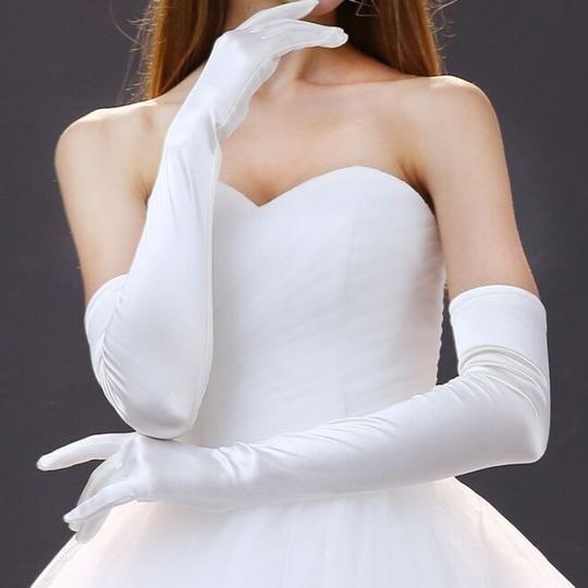 RED Satin Gloves Burlesque Costumel Prom Wedding Christmas Dress Up AU