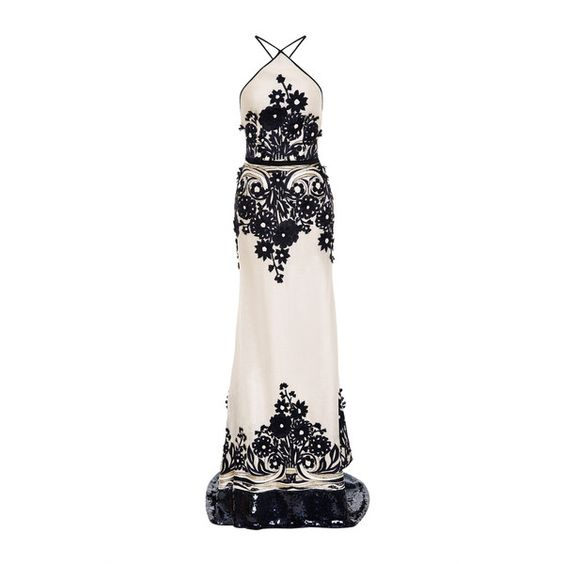 Naeem Khan Floral Embroidered Silk Gazar Gown (51.315 RON) ❤ liked on Polyvore featuring dresses, gowns, white silk gown, halter top, white dresses, silk evening gowns and white halter dress