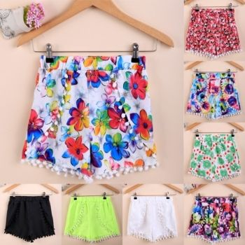 Moda Caliente Colorido De La Borla Casual Mini Shorts Shorts Beach Irregulares