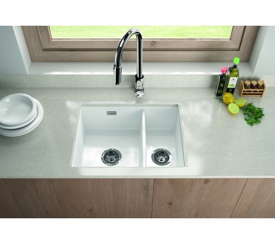 Thomas Denby Metro Ceramic 1 5 Bowl Kitchen Sink Top Undermount Ceramic Undermount Sink White Ceramic Kitchen Sink Ceramic Kitchen Sinks