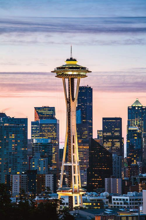 The Space Needle And Skyline At Dawn Seattle Matteo Colombo Skyline Space Needle Pantone Colour Palettes