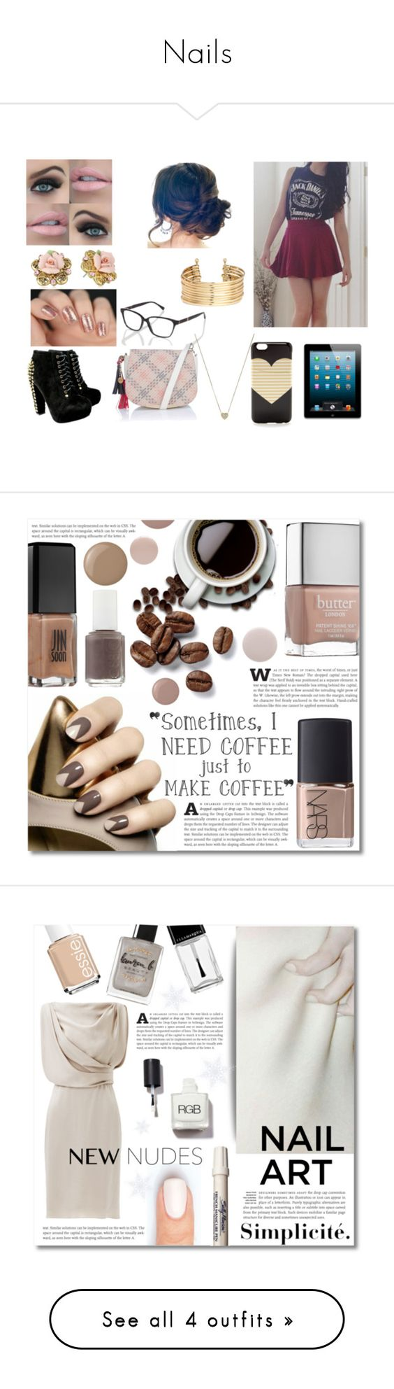 """""""Nails"""" by idakotajohnson14 ❤ liked on Polyvore featuring Ted Baker, J.Crew, Michael Kors, Lipsy, Marie Meili, 1928, Anastasia Beverly Hills, H&M, beauty and NARS Cosmetics"""