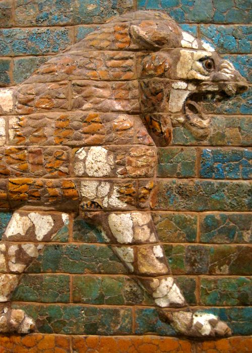 tammuz:  One of two Babylonian lions at the Oriental Institute Museum in Chicago, dating back to 575 BCE. In the equivalent of Babylon's Time Square, 120 life-size lions symbolizing the goddess Ishtar lined the walls of the Processional Street, where the entire city celebrated the New Year: the Resurrection of Tammuz, the Babylonian god of harvest. The Oriental Institute Museum at the University of Chicago, Chicago, IL. Photo by Babylon Chronicle
