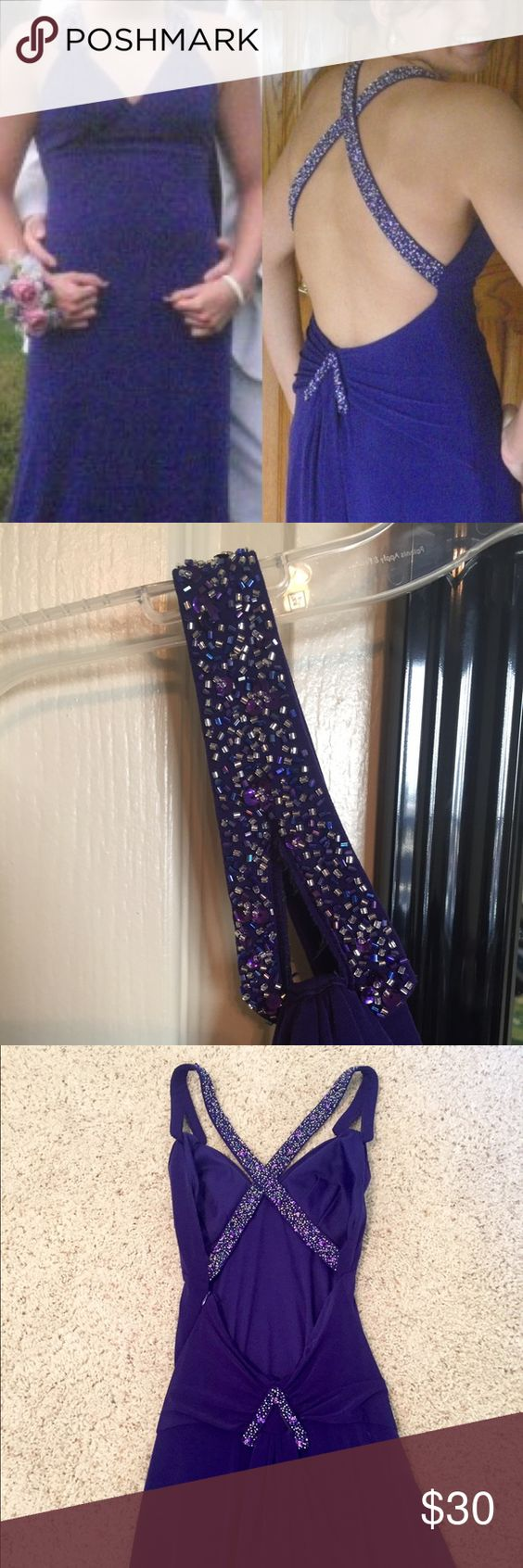 Full length purple gown Full length deep purple gown. Women to a handful of events. Deep back with beautiful beading. Good condition. Material underneath has some snags (cannot be seen when worn) Great for weddings, formal events, prom/homecoming or military balls! Niki Dresses Prom