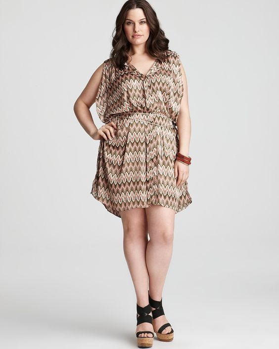 T Bags Plus Size Printed Belted Dress  Sale $87.20    T Bags' zigzag printed dress lends subdued elegance to summer chic with earthy hues and a rustic rope belt.        Web ID: 541045