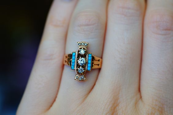Yellow gold diamond and turquoise antique ring size 5.5 $750 sarah@goodoldgold.com