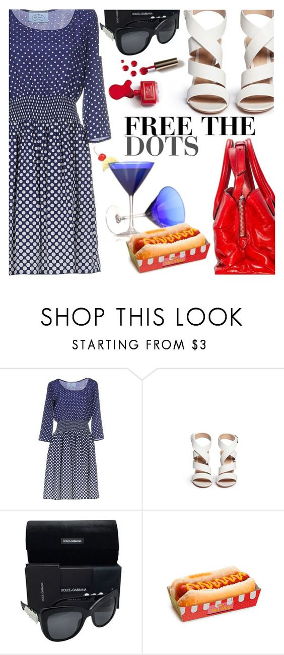"""Independent Prada Dots"" by bagsaporter ❤ liked on Polyvore featuring Prada, Miu Miu, Gianvito Rossi, Ciaté and Dolce&Gabbana"