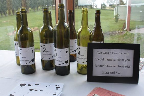 Great way to relive your wedding day by having guests write you a message to be read on your anniversary.