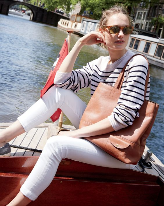 J.Crew Looks We Love: Italian cashmere crewneck sweater in nautical stripe, toothpick jean in white, all-day tote and Seavees® for J.Crew 06/67 Monterey sneakers in dark heather grey.: