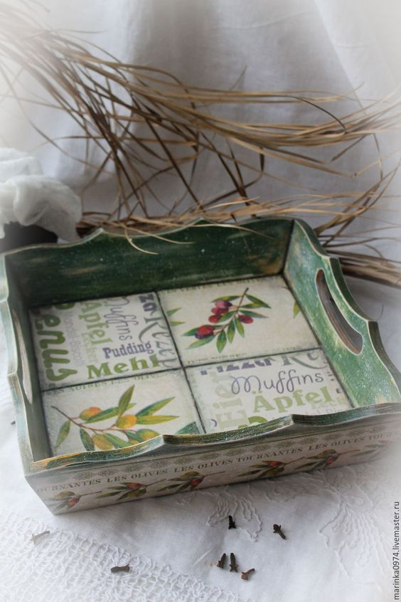 """Купить Поднос-подставка """"Веточки оливы"""" - тёмно-зелёный, оливки, прованс, прованский стиль"""