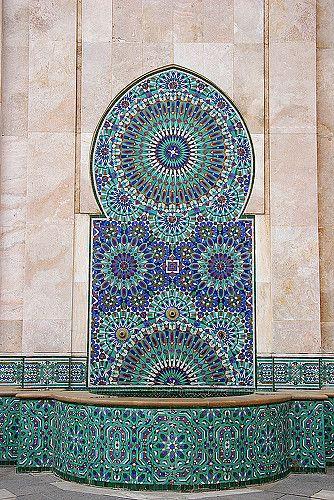 mosaic fountain in casablanca