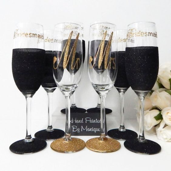 Hey, I found this really awesome Etsy listing at https://www.etsy.com/listing/455336750/black-and-gold-wedding-glasses-for