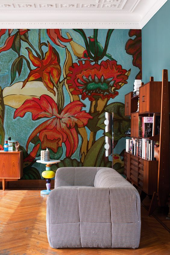 FIORE MIO #Wallpaper with floral pattern by Wall&decò #design Talva Design