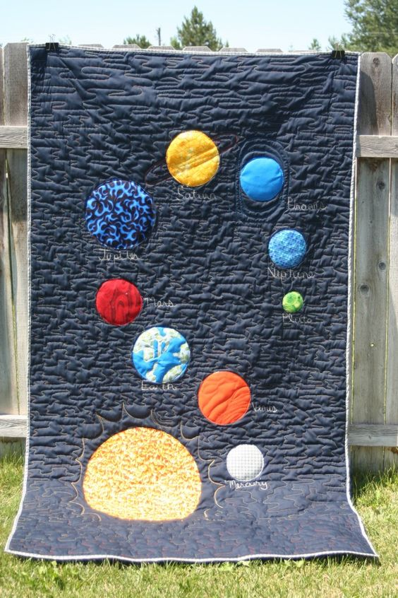 Super fun idea!  I think I would arrange the planets differently, but I love the potential for creating movement with the stitching and having the stunning colors against a dark background.