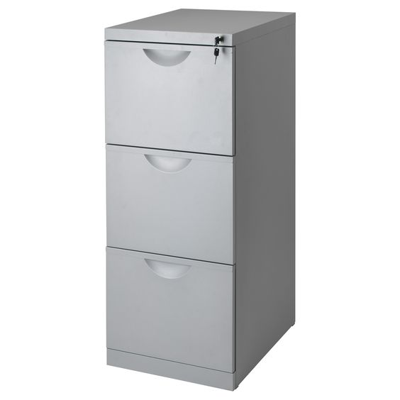 IKEA - ERIK, File cabinet, silver-colour , Drawers for drop files make it  easy to sort and store your