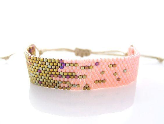 Coral Pink Bracelet, Pink Beaded Bracelet, Adjustable Bracelet, Stardust Bracelet, OOAK Bracelet Handmade by JeannieRichard. $80.00, via Etsy.