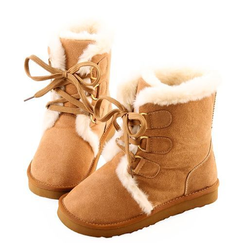Fashionable Camel Leather Fur Lace Up Flat Warm Winter Snow Boots SKU-143156