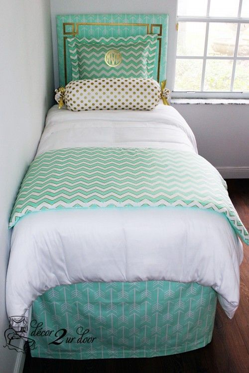 Mint Glitz Designer Bed In A Bag Set Dorm Room Bedding