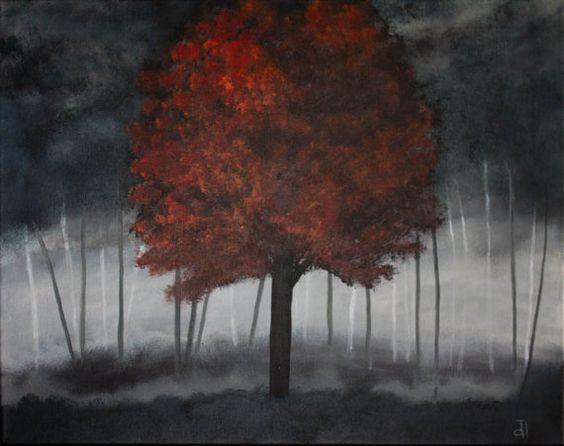 Atomic Tree Acrylic Painting Original Dark Abstract ...