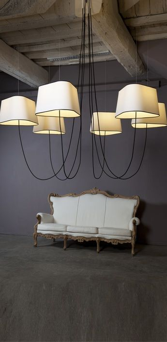 Lustre grand nuage blanc noir o203cm designheure normal for Grande suspension luminaire