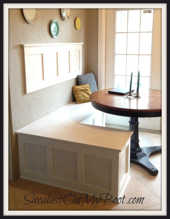 Board batten banquette i love the wall piece put some cork board white board or chalk board - Kitchen banquette seating with storage ...