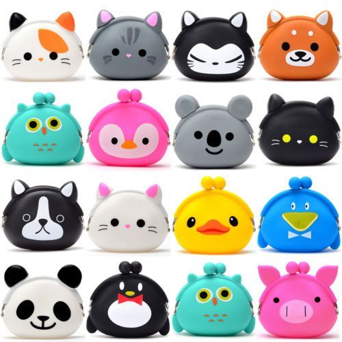 Womens Kids Girls Cute Gift Cartoon Cat Dog Mini Bag Coin Purse Lady Headset Box