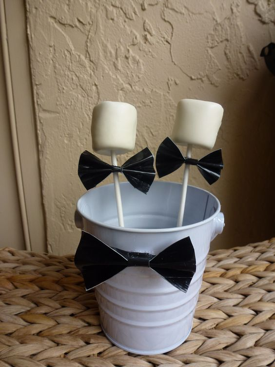 Groom pops - white chocolate dipped marshmallows with craft bow tie