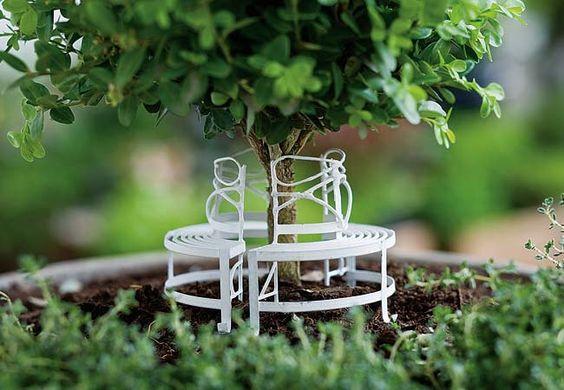 Miniature Garden Circular Bench White Fairy Garden by GardenBarn on Etsy https://www.etsy.com/listing/198070788/miniature-garden-circular-bench-white