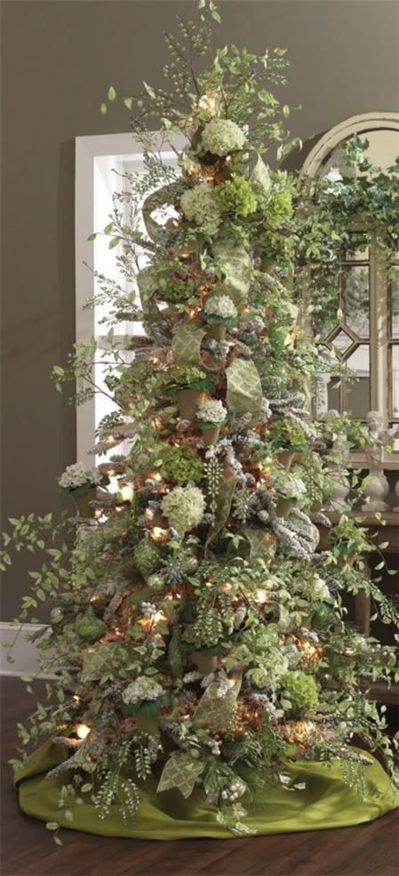 Porcelain Garden Christmas Tree with potted hydrangea ornaments