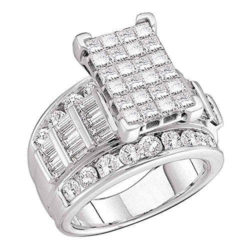 Diamond2deal 10kt White Gold Womens Princess Diamond Cluster Brid 14k White Gold Diamond Engagement Ring Bridal Engagement Rings White Diamond Rings Engagement