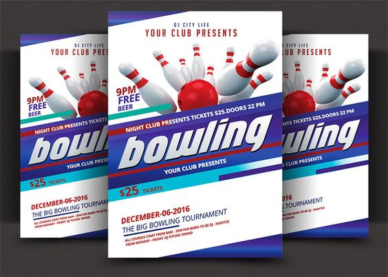Bowling Night Flyer Template  Flyer Template Print Templates And