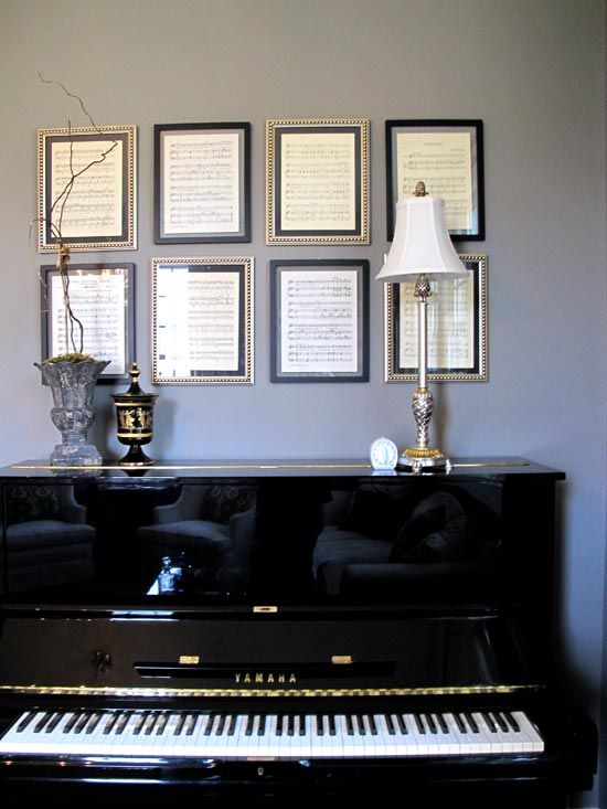 """I love the way Sarah """"frames"""" her baby grand with sheet music in a collage of two different staggered frames."""