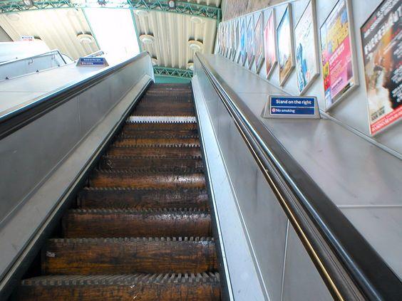 up the descending escalator