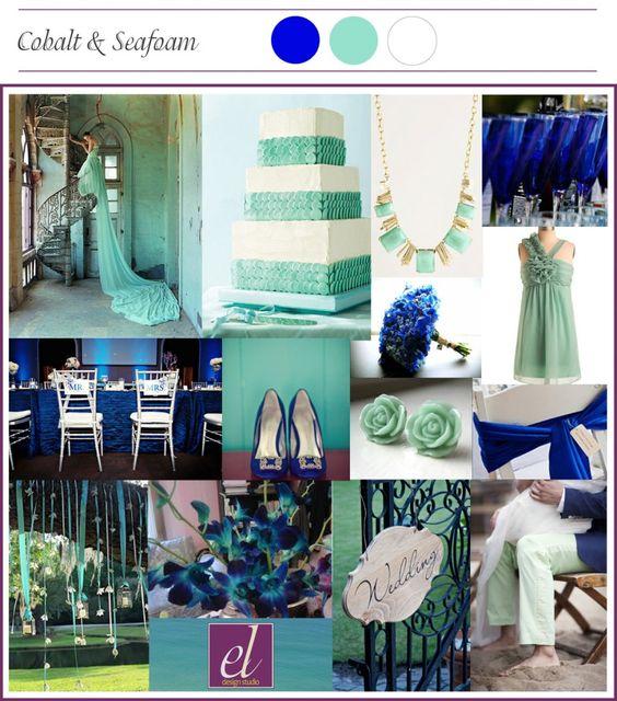 Seafoam Green Wedding Ideas: Mood Board_Cobalt And Mint Green Wedding... Even Seafoam