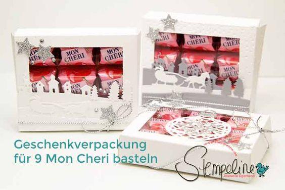 Hübsche Mon Cheri Geschenkverpackung basteln für 9 Stück zu Weihnachten oder auch andere Anlässe ganz einfach mit dieser Video-Anleitung und Stampin´ Up!
