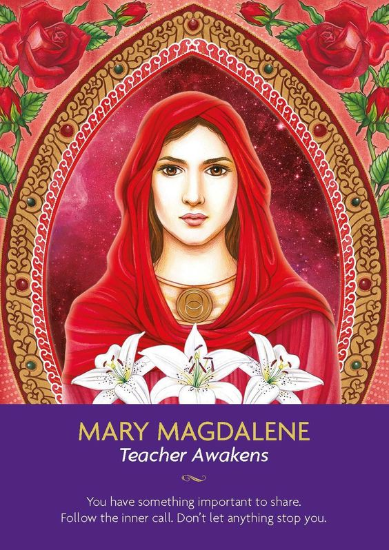 Divine wisdom encourages you to see all that you have learned gives you the opportunity to serve and teach others. How can you impart your knowledge, wisdom and knowledge? Through this act of sharing you will connect deeply with the voice of your soul. Mary Magdalene is the teacher of teachers. Her presence is dedicated to helping teachers and lightworkers awaken the world over. Kyle Gray, Keepers of the Light Oracle Cards:
