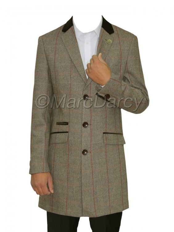 Mens Designer Checkered Grey Tweed Vintage Long Coat Blazer | Marc