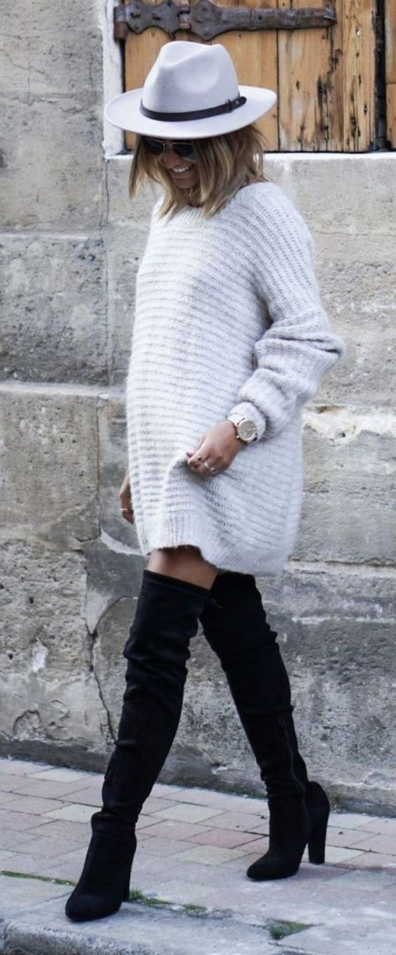 how to wear a pair of black over knee boots : white hat bag knit sweater dress