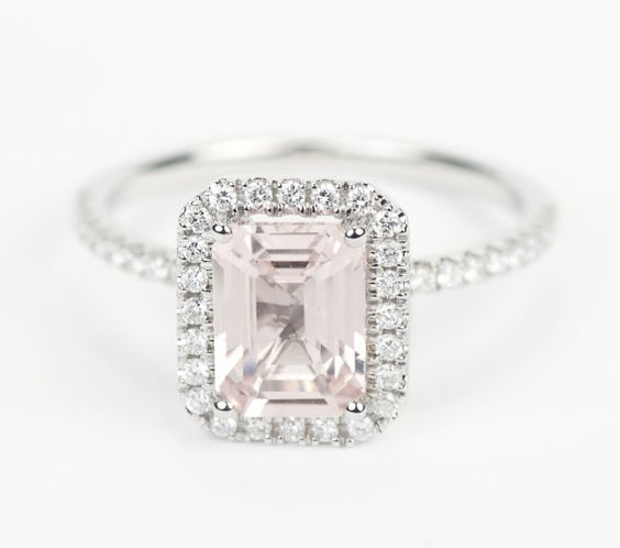 certified light pink chagne emerald cut sapphire
