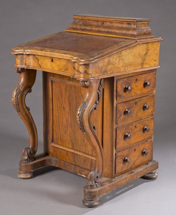 A walnut Davenport desk with burl veneer. 19th century.