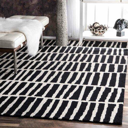 Odalis Geometric Hand Tufted Wool Black Ivory Area Rug Black