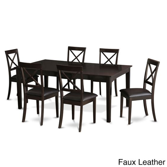 HEBO7-CAP Cappucino Wood Dining Table and 6 Dinette Chairs