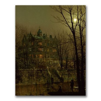 "Trademark Art ""Knostrop Old Hall, Leeds"" by John Atkinson Grimshaw Painting Print on Wrapped Canvas Size:"