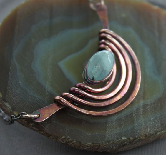 Tribal inspired copper necklace with aquamarine by IngoDesign