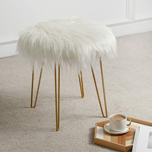 Oneinmil Fuzzy Fluzzy Fur Vanity Stool Stool Seat Ottoman Foot Rest Round Cute For Bedroom With Gold Metal Legs Ro Vanity Stool Girly Room Decor Stool