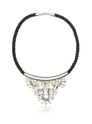 nOir Jewelry Black Chord Crystal Necklace