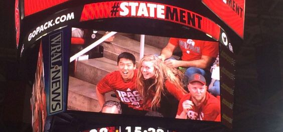 #amwf couples : She got her Asian bf tickets to a North Carolina State University basketball game and he took the advantage to ask her to prom
