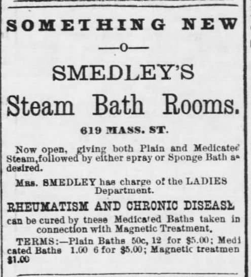 Medicated Steam Baths at Smedley's. Advertised in Lawrence Daily Journal of Lawrence, Kansas, on June 29, 1888. (price comparisons, then-to-now, provided in the article) | Old West Bath House | KristinHolt.com