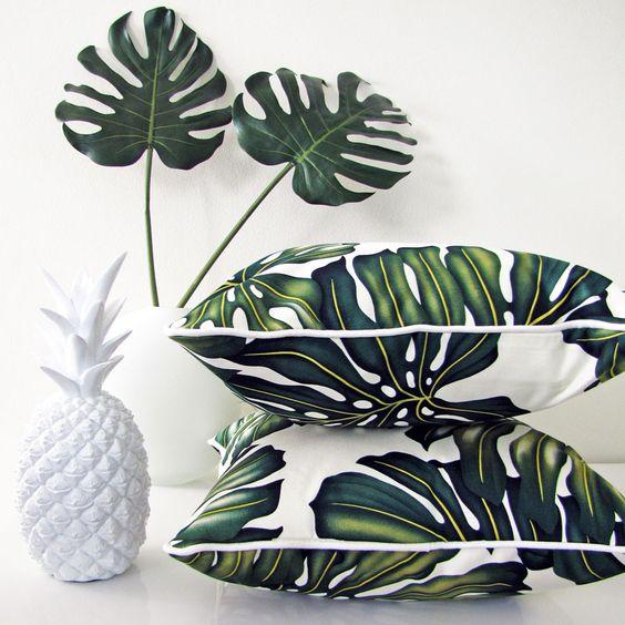 Beautiful tropical leaf cushions | escapetoparadise.com.au: